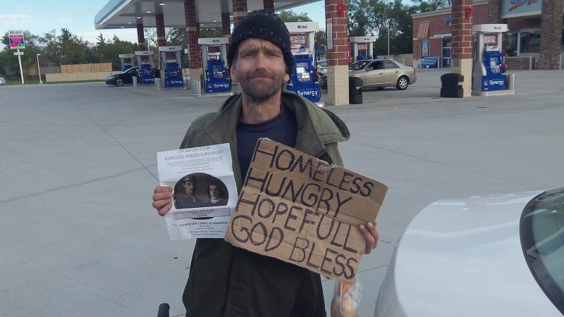 Homeless Man serviced on North Avenue in DuPage County 11-19