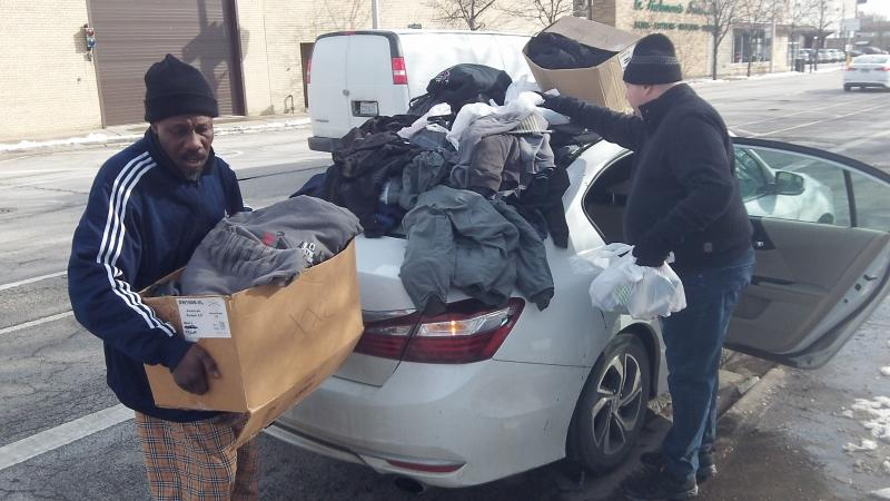 GCA distributing supplies to the homeless in Chicago, IL 2020